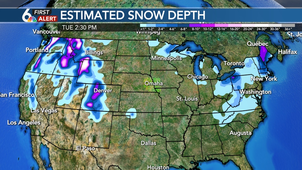 Snow depth as of Tuesday, December 8th