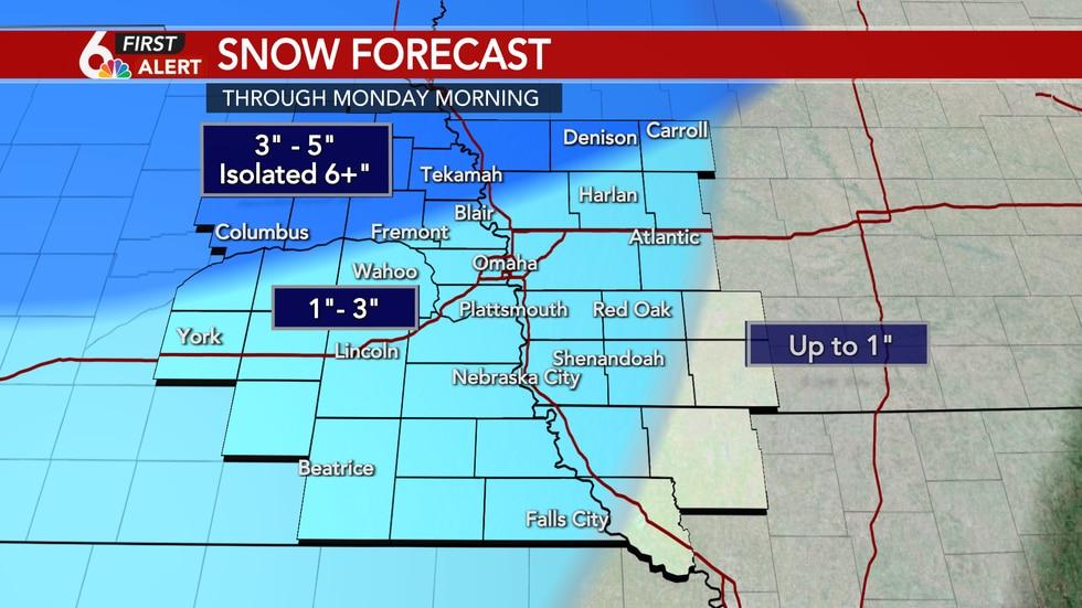 Snow potential through Monday morning