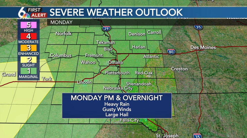 A few severe storms possible Monday PM