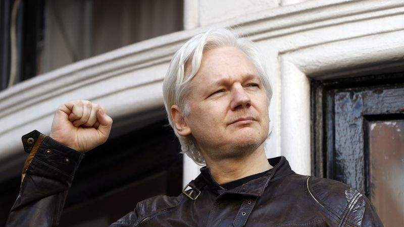 In this May 19, 2017 file photo, WikiLeaks founder Julian Assange greets supporters outside the...