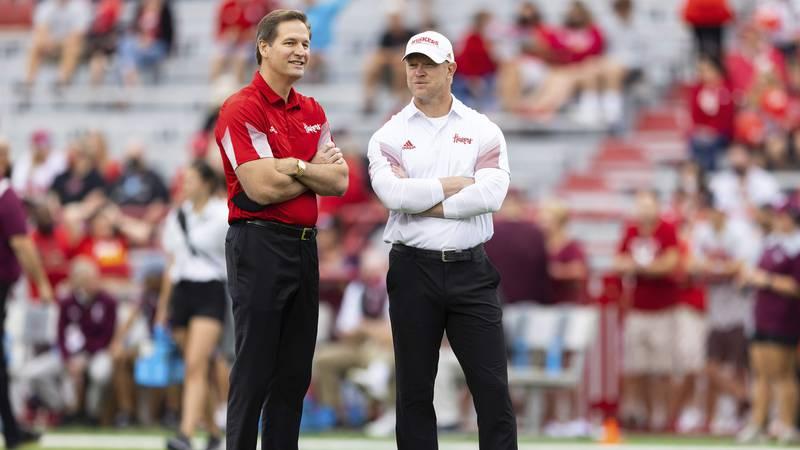Nebraska athletic director Trev Alberts, left, chats with head coach Scott Frost at Memorial...