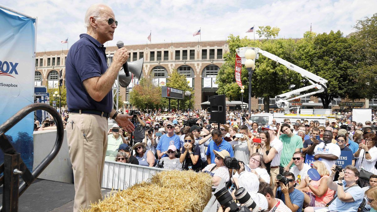 Democratic presidential candidate former Vice President Joe Biden speaks at the Des Moines Register Soapbox during a visit to the Iowa State Fair, Thursday, Aug. 8, 2019, in Des Moines, Iowa. (AP Photo/Charlie Neibergall)