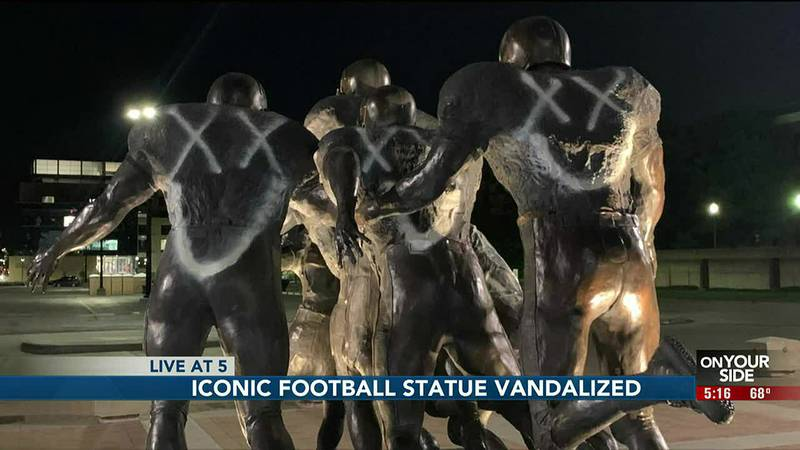 Lincoln authorities are investigating vandalism to one of UNL's famous football statues...