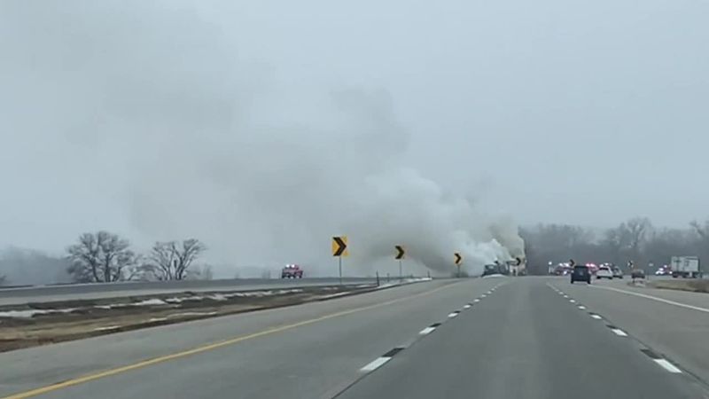 The I-80 eastbound near Ashland was closed on Sunday due to a semi fire.