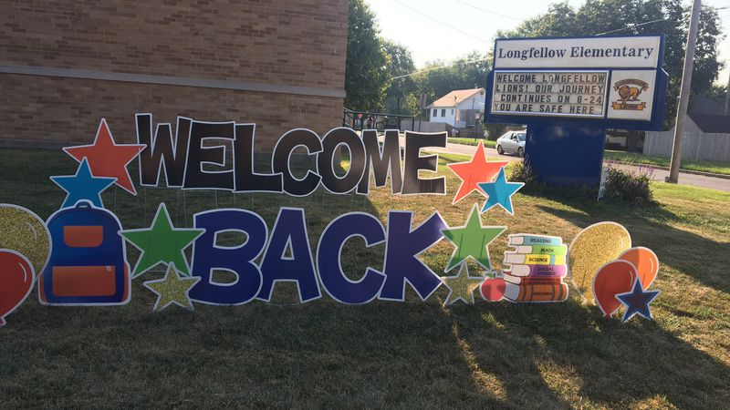 Students at Longfellow Elementary were greeted with a big welcome back sign on their first day...