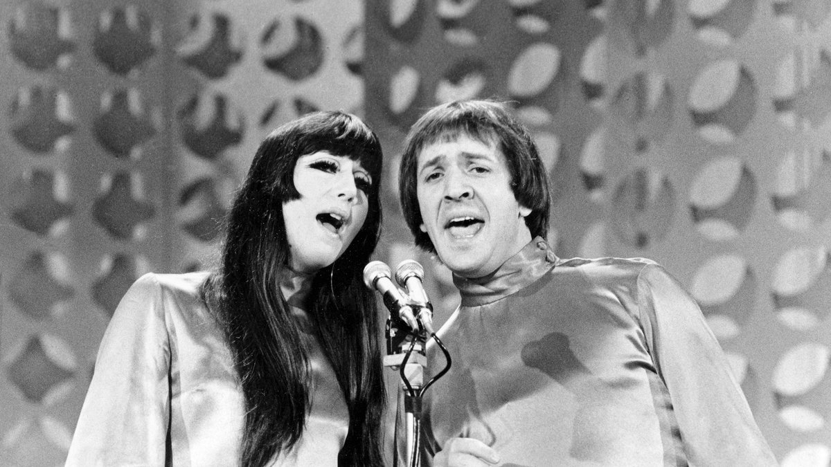 """In this Jan. 21, 1966 file photo, Sonny, right, and Cher sing during a taping of """"The Danny..."""