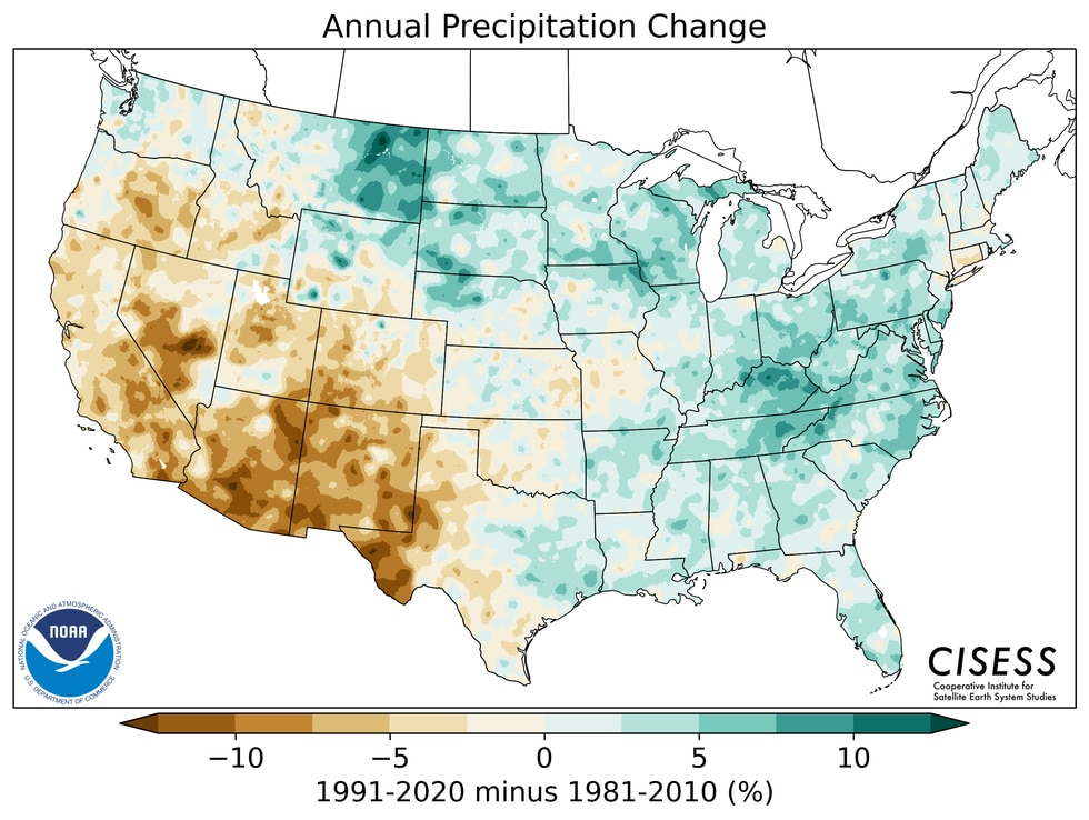 Most notably, the Western Region of the United States has trended drier with the latest climate...