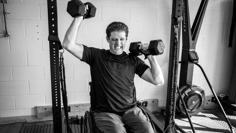 Chad Arnold trains for Adaptive CrossFit at QLI in Omaha.