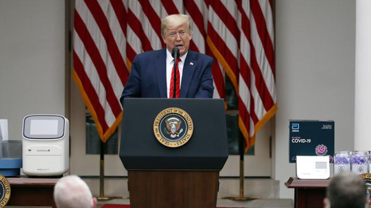 President Donald Trump speaks about the coronavirus during a press briefing in the Rose Garden of the White House, Monday, May 11, 2020, in Washington. (AP Photo/Alex Brandon)