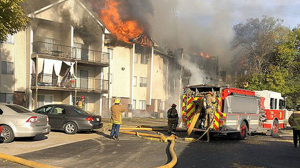 A two-alarm fire broke out at Kensington Woods Apartments in the Old Mill area in Omaha on Thursday afternoon, Oct. 17, 2019. (Omaha Fire Department)