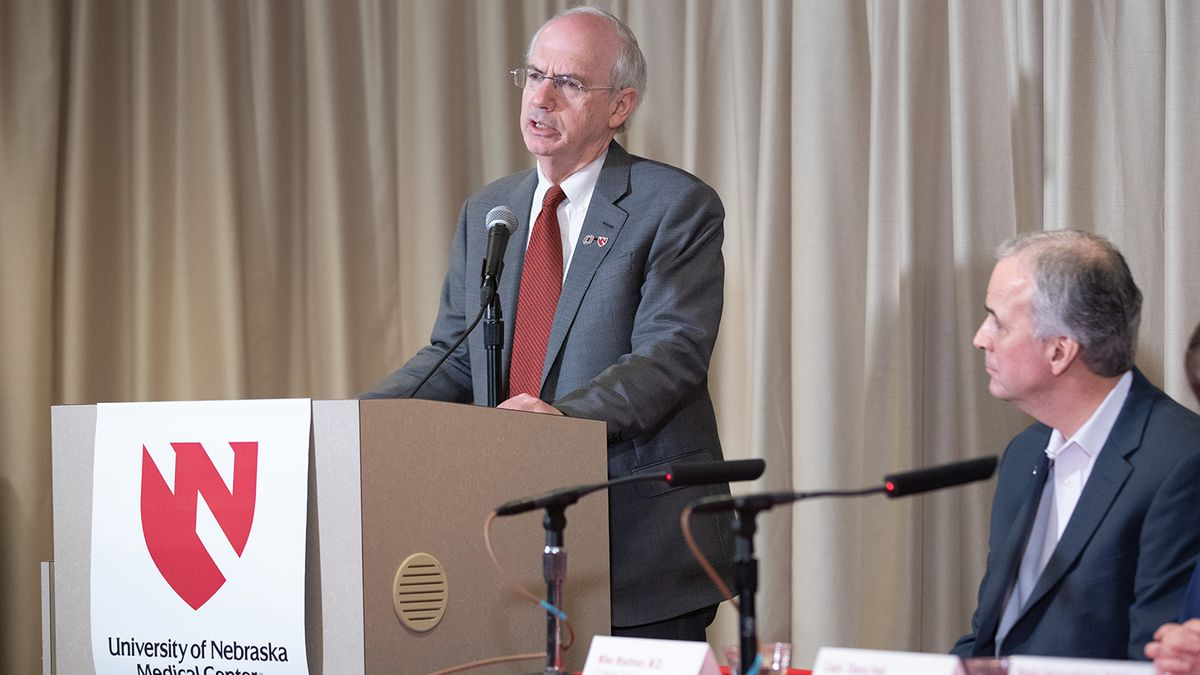 Jeffery Gold, M.D., chancellor of the University of Nebraska Medical Center, at the podium during a press conference following the release of two women from the National Quarantine Unit on the UNMC campus in Omaha on March 2, 2020.