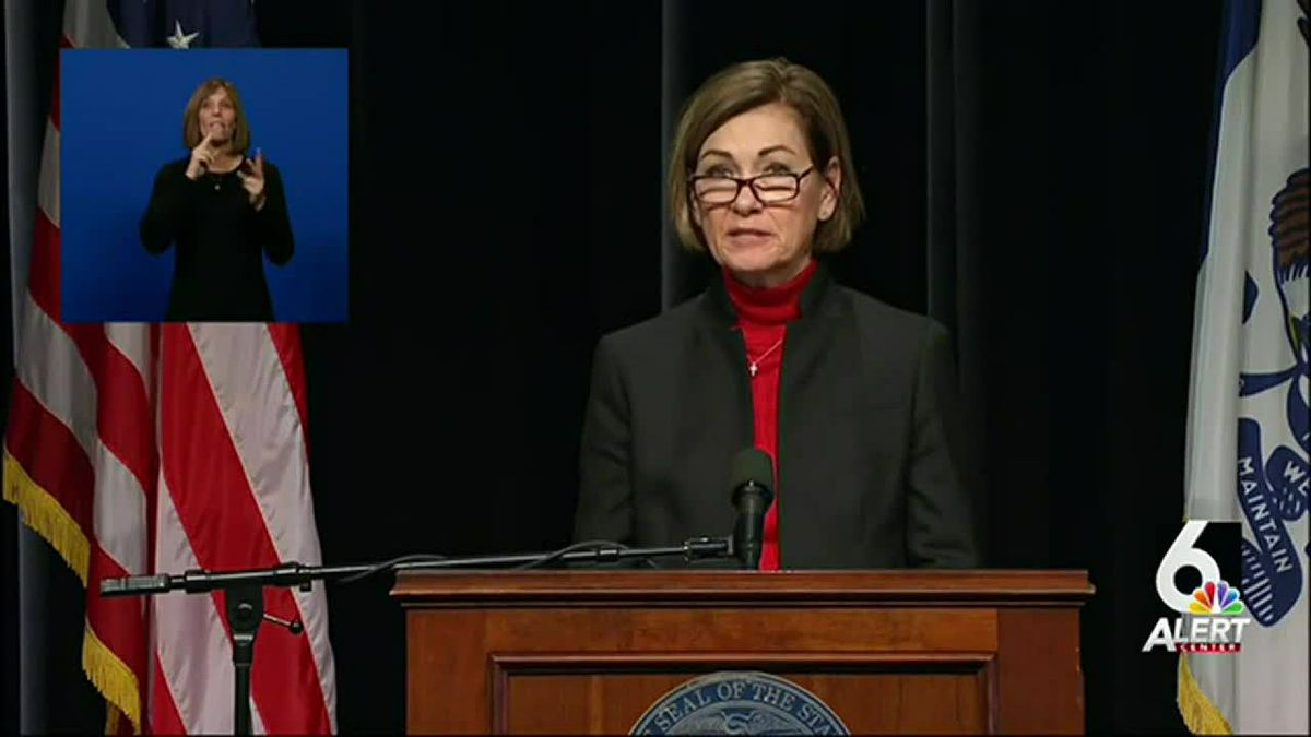 Gov. Kim Reynolds gives an update on Iowa's COVID-19 response on Tuesday, Dec. 22, 2020.