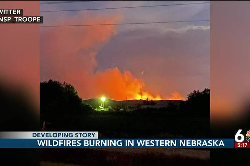 Wildfire burning in western Nebraska