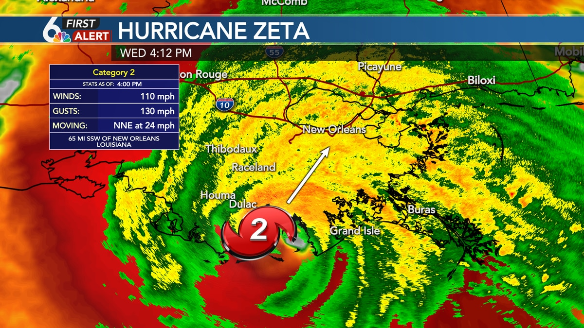 Zeta made landfall Wednesday afternoon as a strong Category 2 hurricane.