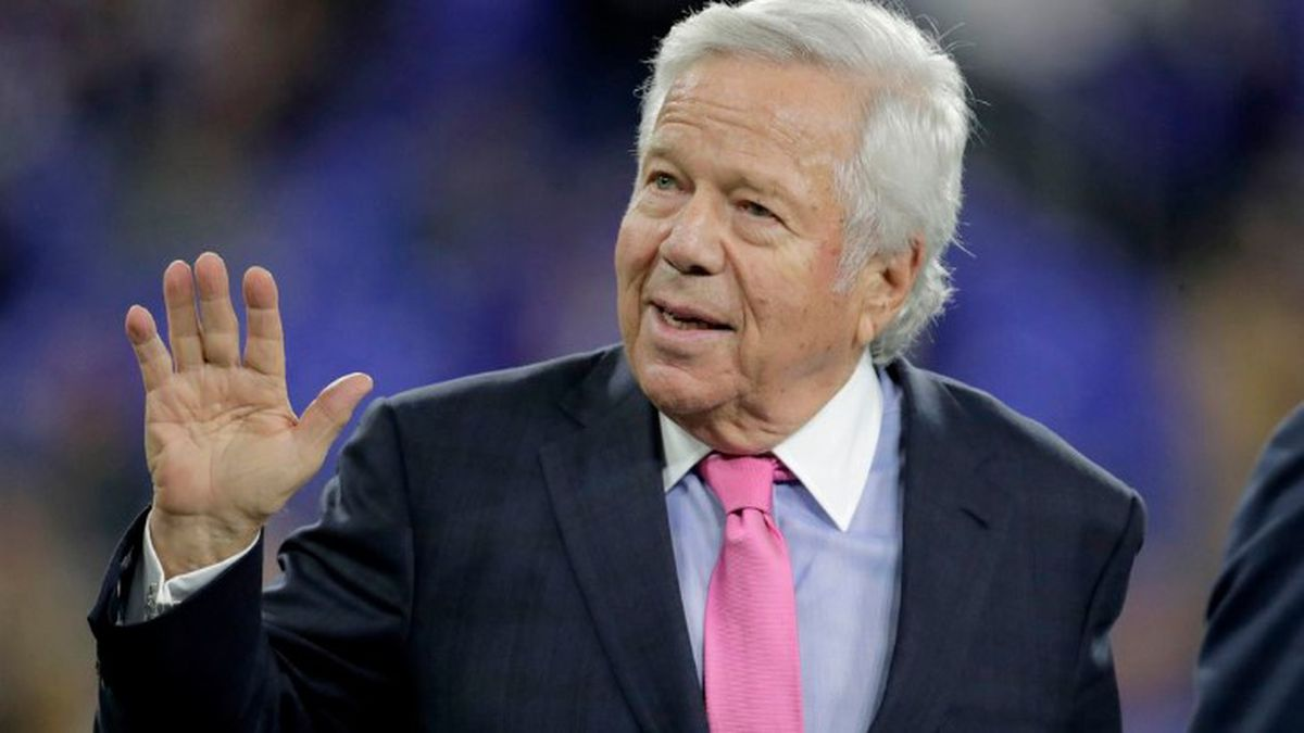 In this Nov. 3, 2019 file photo, New England Patriots owner Robert Kraft waves to fans as he walks on the field prior to the team's NFL football game against the Baltimore Ravens in Baltimore. (Source: AP Photo/Julio Cortez, File)