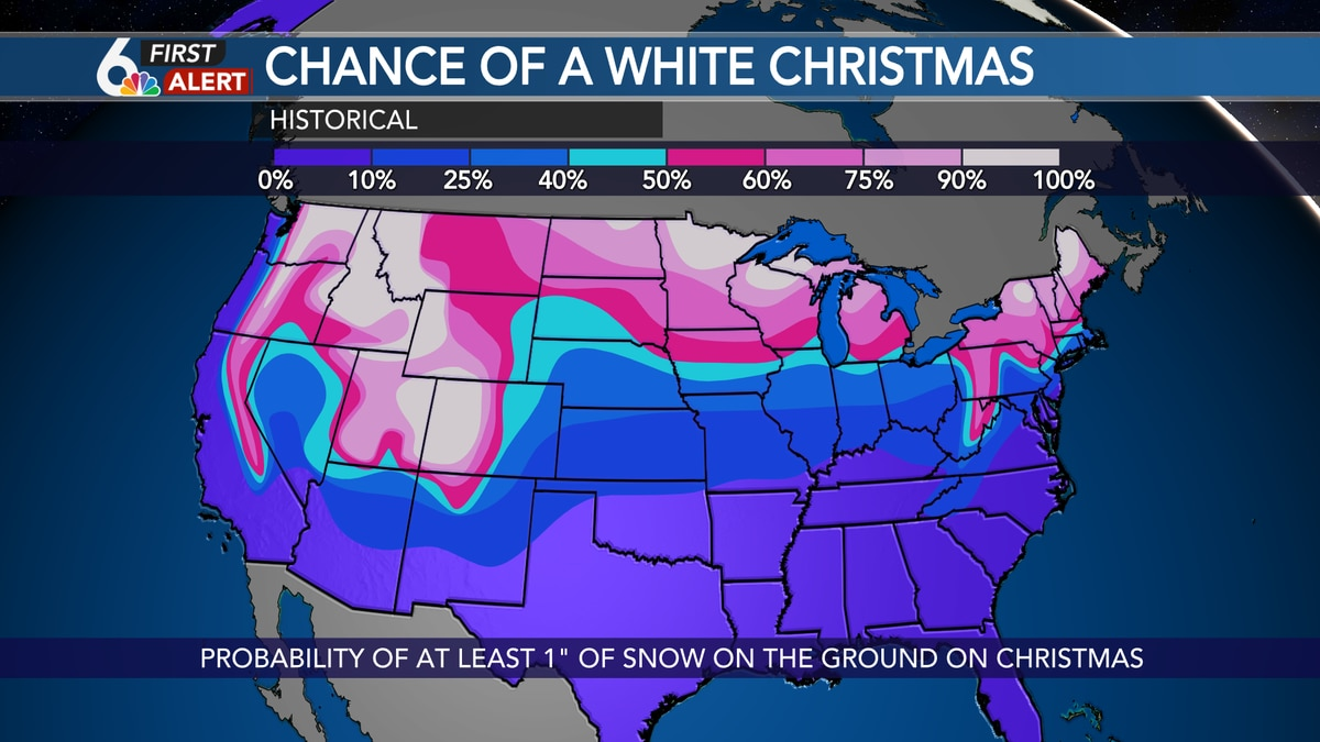 Historically, Omaha has a 33% probability of a White Christmas