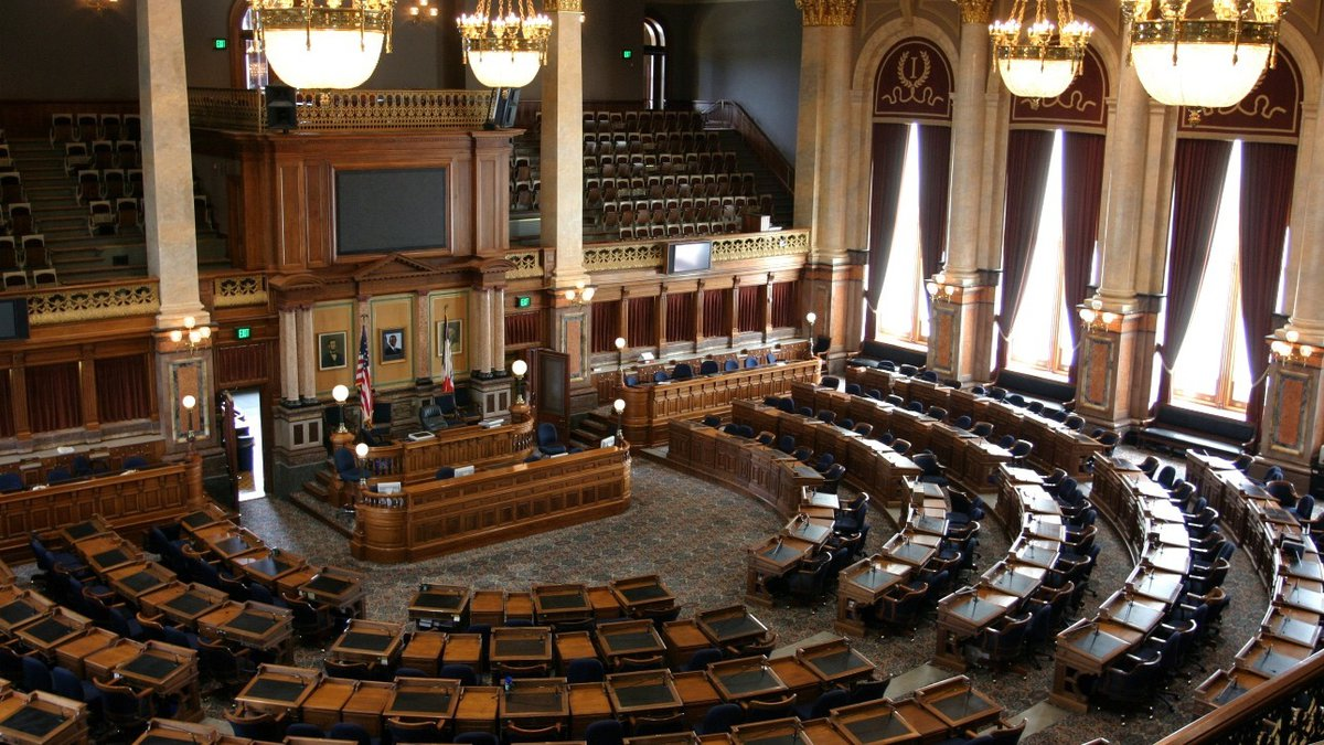 The Iowa House of Representatives' Chamber, located on the second floor of the Capitol.
