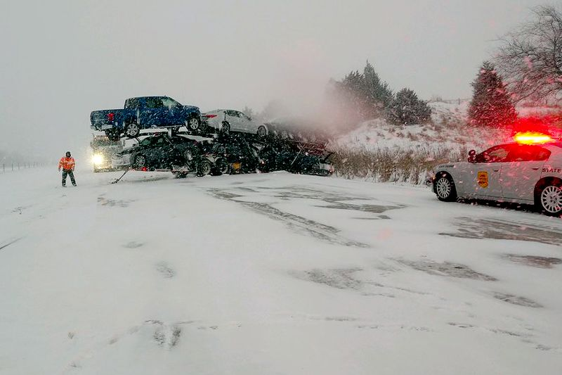 Winter weather conditions caused a crash Monday afternoon on westbound Interstate 80 near...