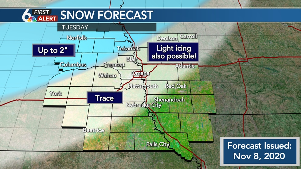 Best chance for snow accumulation north and northwest of the Metro