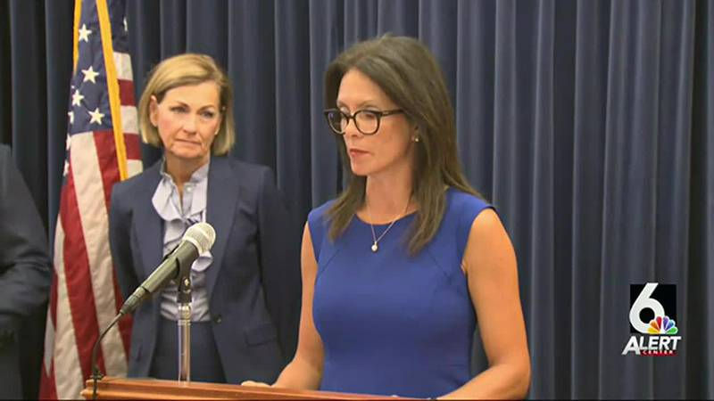 Ann Lebo, Iowa's education director, right, and Gov. Kim Reynolds have been named in a Council...