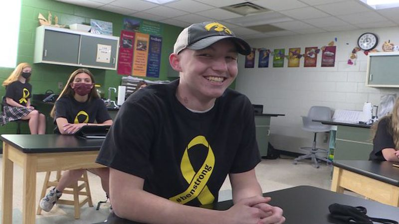 15-year-old Ben Robinette at Skutt Catholic High School on April 12, 2021.