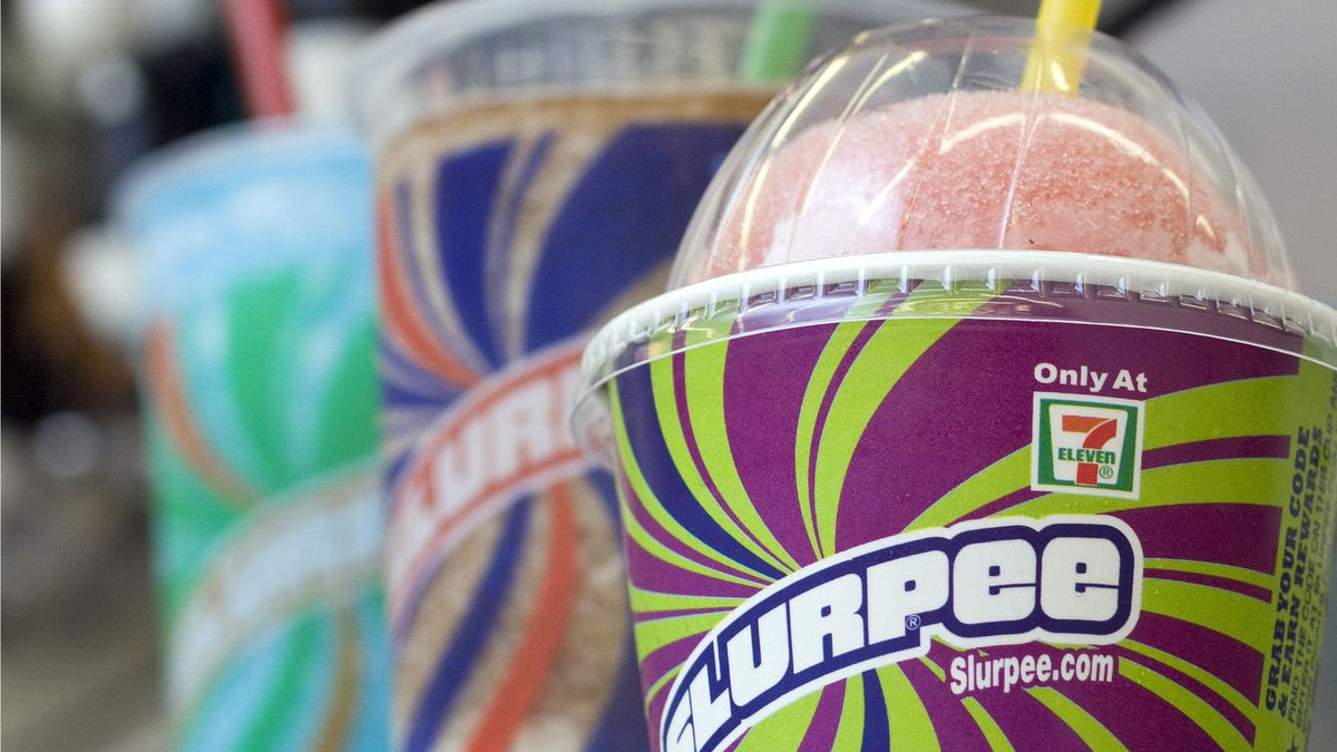 FILE - In this Nov. 10, 2010, file photo, Slurpees are displayed at a 7-Eleven store in Concord, N.H. The coronavirus pandemic has taken away another summertime tradition in the U.S.: There will be no free Slurpees at 7-Elevens on Saturday — July 11 — to hail a date that doubles as an abbreviation of the convenience store chain's name.
