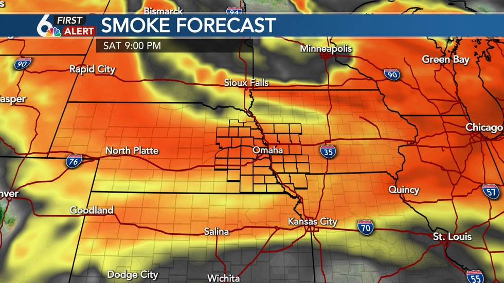 Areas of orange/red indicate thicker smoke