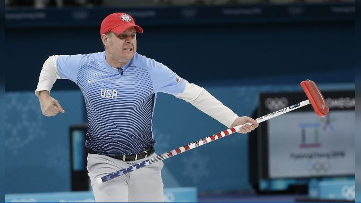 United States's skip John Shuster reacts during the men's final curling match against Sweden at...
