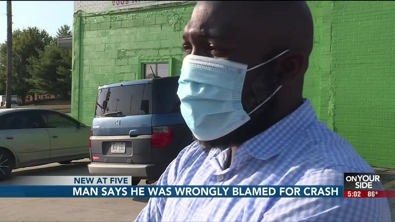An Omaha man says police told him he was at fault for an accident last month.