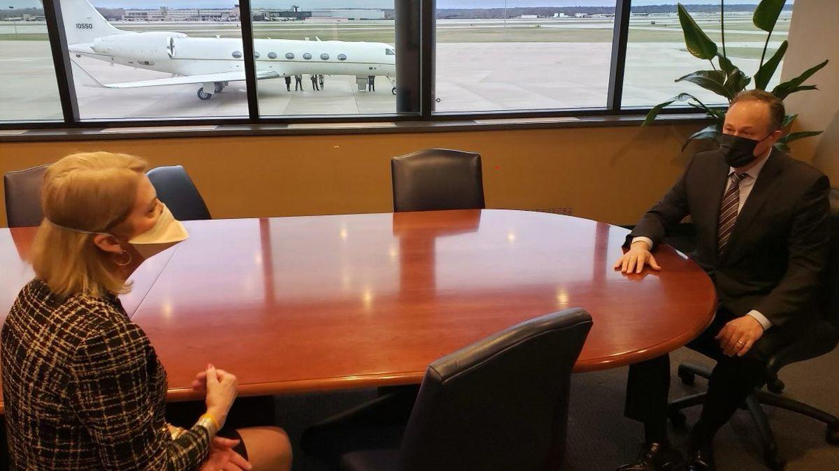 Second Gentleman Doug Emhoff met with Omaha Mayor Jean Stothert on Wednesday morning, March 24,...
