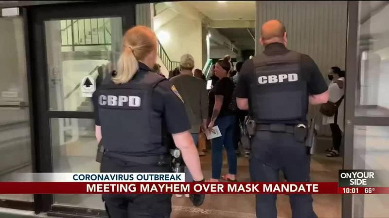 Meeting mayhem over mask mandate