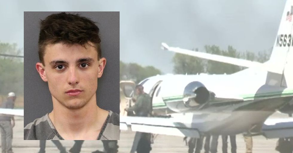 Tyler Caudill, 19, was arrested after police said he trespassed on a private jet at the Central...