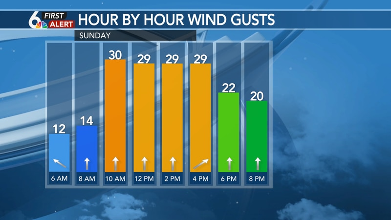 SSW winds could gust up to 35 mph Sunday