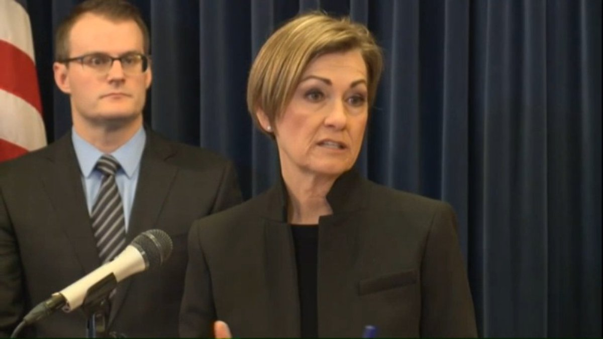 Gov. Kim Reynolds gave an update Tuesday morning, March 10, 2020, on coronavirus cases in Iowa...
