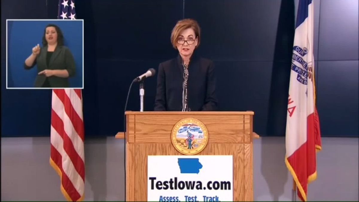 Gov. Kim Reynolds talks about the most recent developments in Iowa's COVID-19 stats dashboard at her news conference Thursday morning, May 14, 2020. (WOWT)