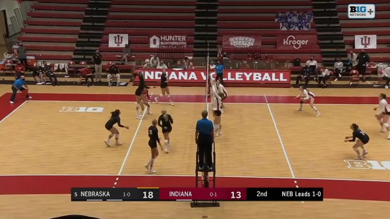 Nebraska's Lexi Sun goes up for one of her 11 kills in a sweep of the Indiana Hoosiers.