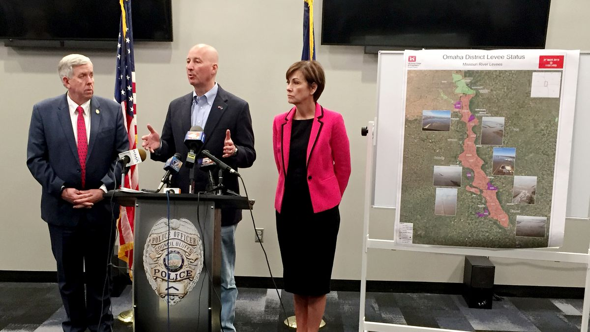 Nebraska, Iowa, and Missouri governors discuss severe flooding throughout the region from the...