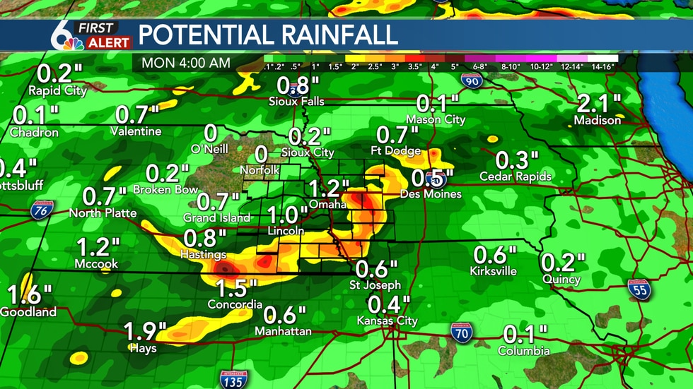 Rainfall Potential for Sunday