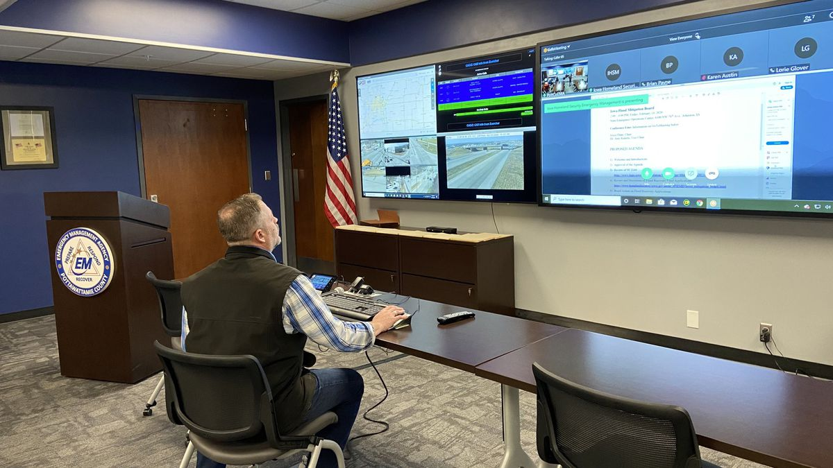 Iowa's flood mitigation board met at Pottawattamie County Emergency headquarters on Friday, Feb. 14, 2020, to begin assigning emergency funds to flood projects. (Tara Campbell / WOWT)