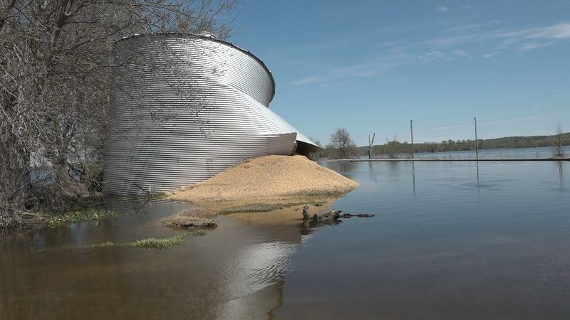 Corn spills out of a bin damaged by flooding near Bartlett, Iowa, in April 2019. (Tara...