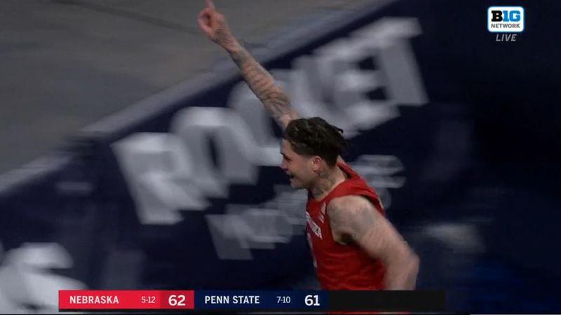 Nebraska's Teddy Allen celebrates after NU beat Penn State to end its 26-game Big Ten losing...