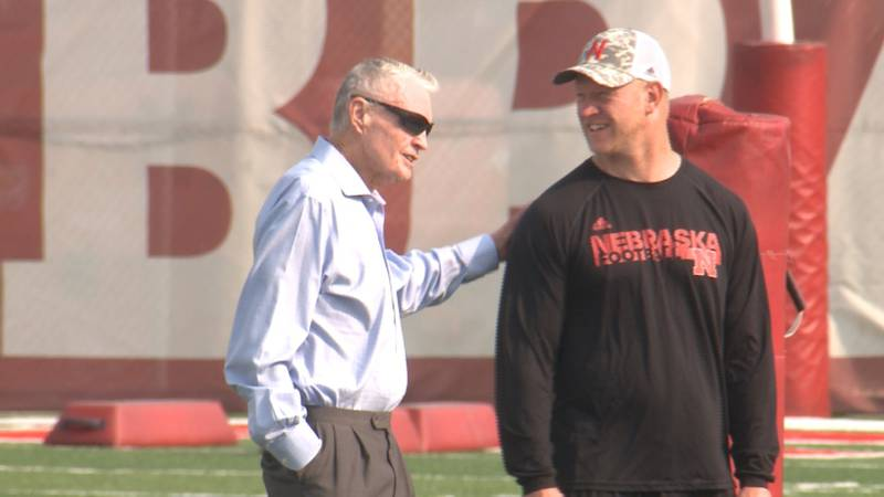 Tom Osborne visited practice on August 4, 2021 and spent time chatting with Scott Frost as the...
