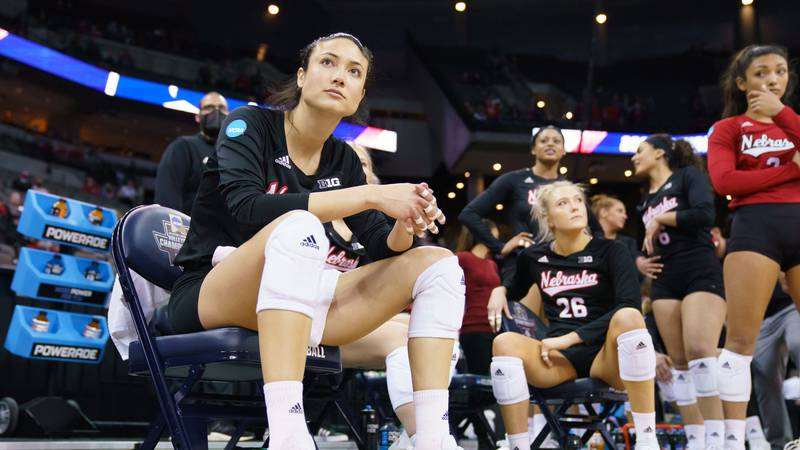 19 APR 2021: Nebraska vs. Texas during the Division I Women's Volleyball Tournament held at the...