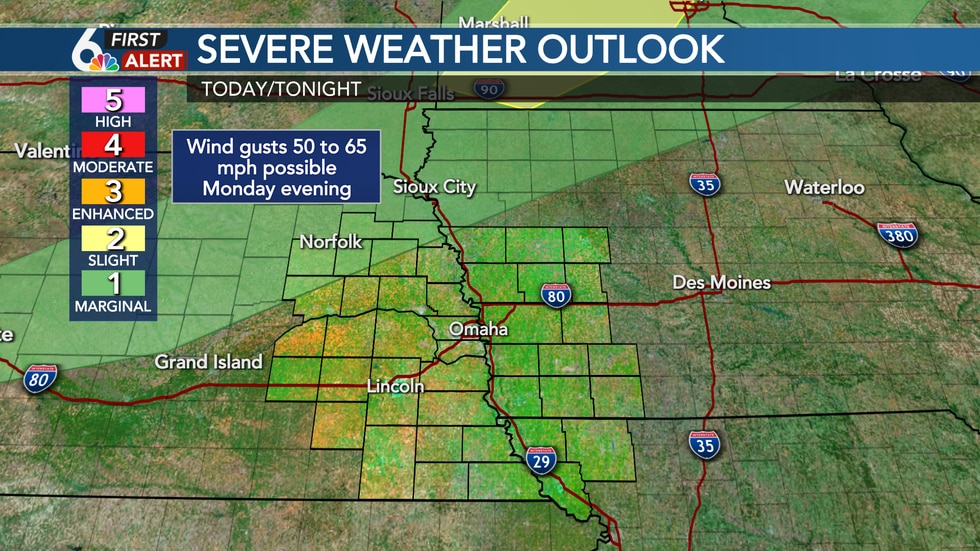 Few strong storms possible northwest Monday evening