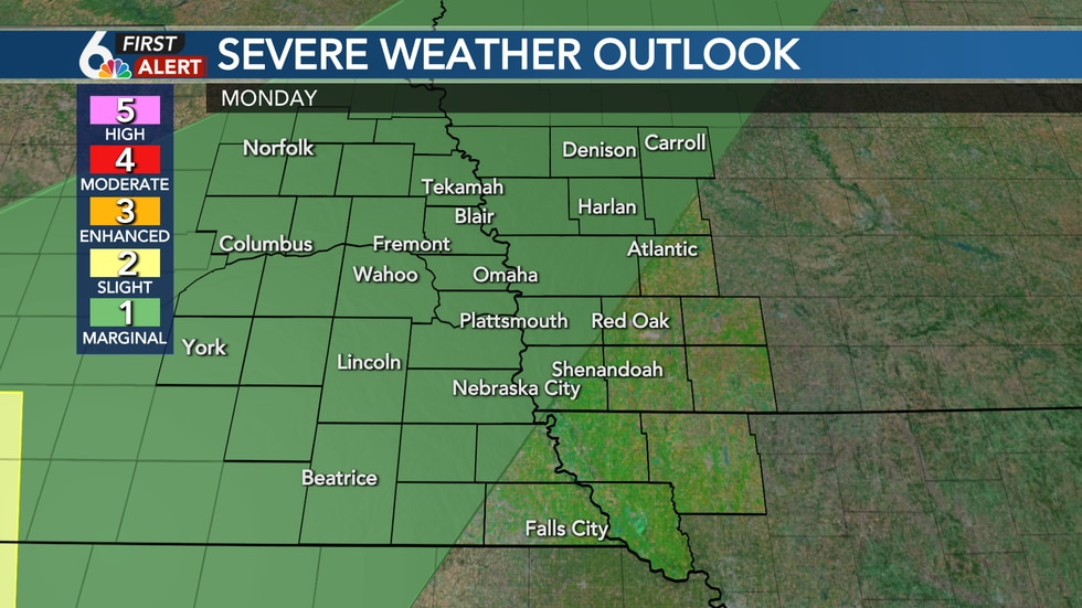 A few strong storms possible Monday PM