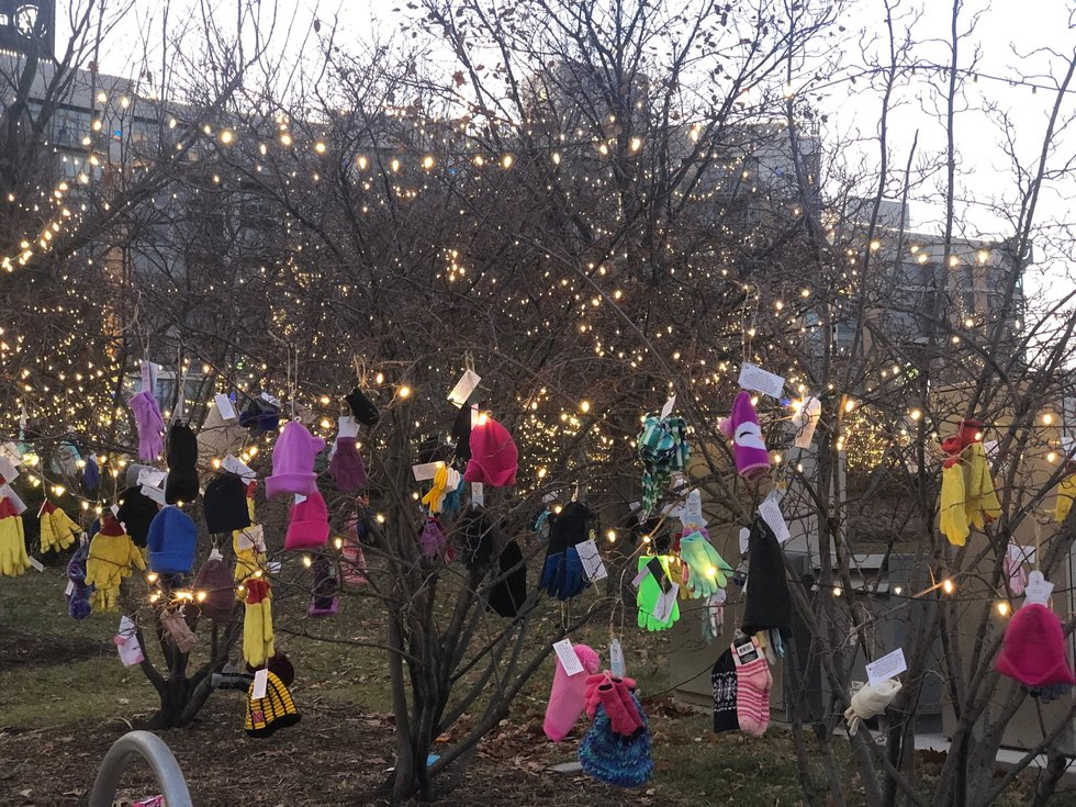 For Giving Tuesday 2019, Secret Kindness Agents hung heat gear in Turner Park for anyone in...