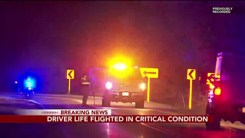 BREAKING: Driver life-flighted in critical condition