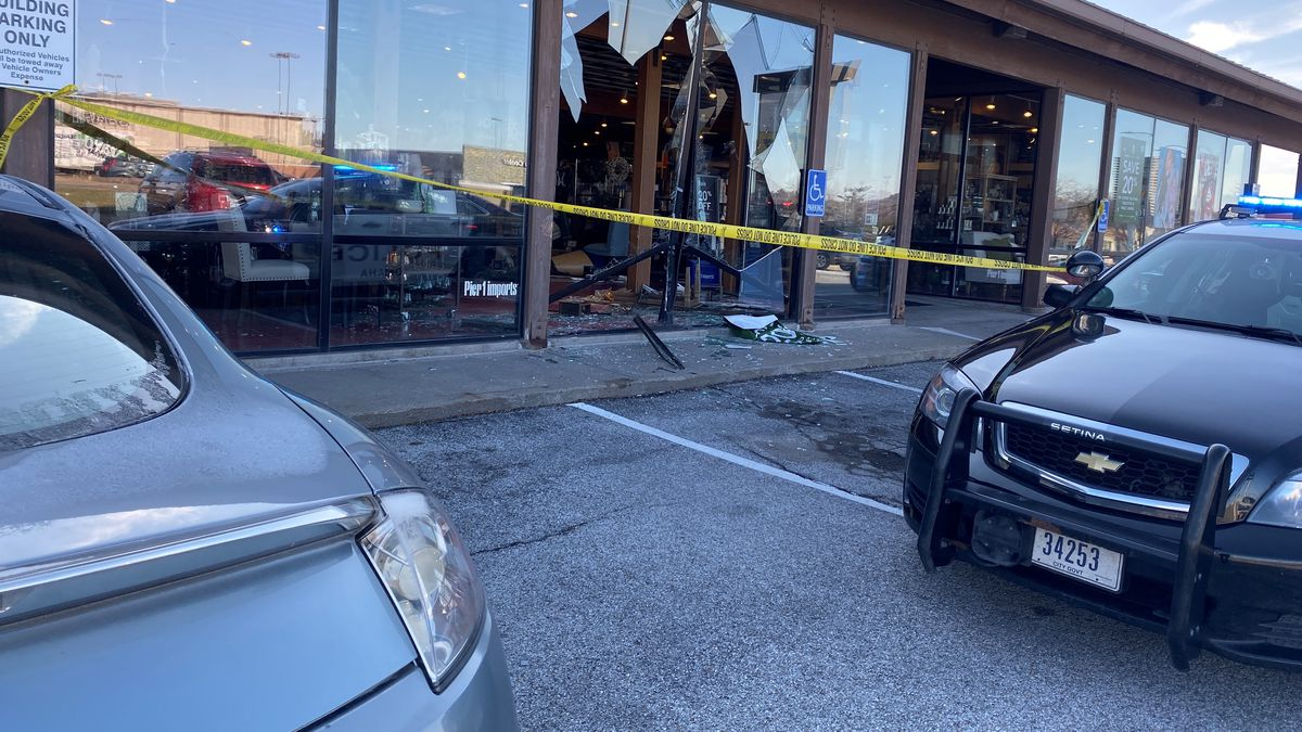 No injuries were reported after a driver crashed into the front windows of the Pier 1 store at 74th and Dodge streets on Friday afternoon, Nov. 22, 2019. (Rachel Urbanski / WOWT)