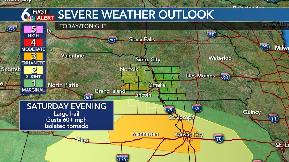 Strong storms likely south Saturday evening