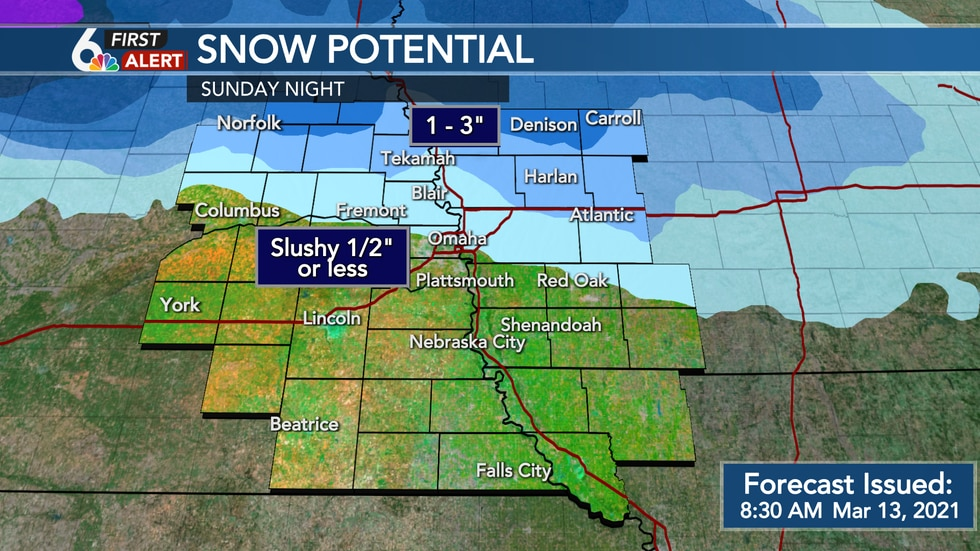 Most of the slushy snow will stay off to the North of the Omaha Metro Sunday night